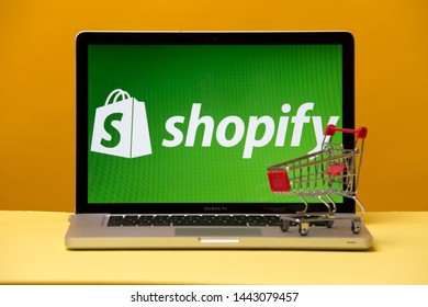 Tula, Russia 17. 06 2019 Shopify on the laptop display.