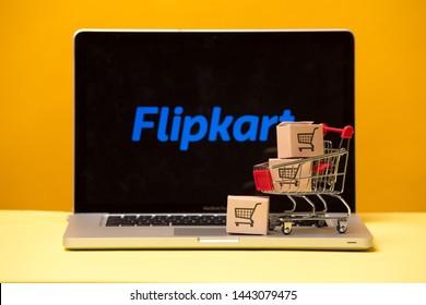 Tula, Russia 17. 06 2019 Flipkart on the laptop display.