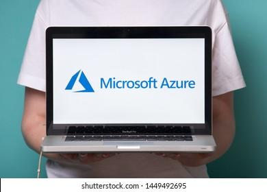 Tula, Russia 17. 06 2019 Microsoft Azure on the laptop display.
