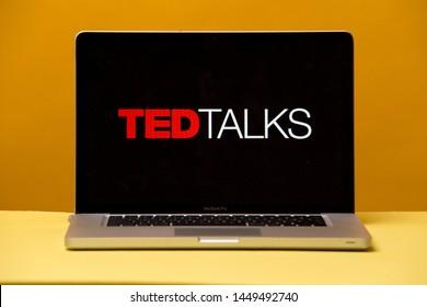 Tula, Russia 17. 06 2019 Ted Talks on the laptop display.