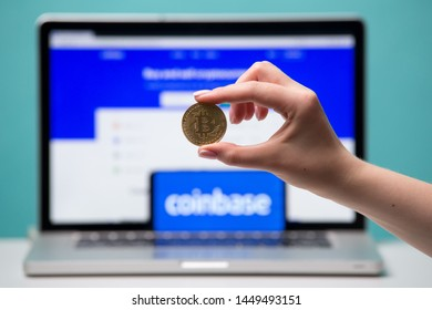 Tula, Russia 17. 06 2019 Coinbase on the laptop and phone display.