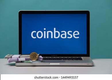 Tula, Russia 17. 06 2019 Coinbase on the laptop display.