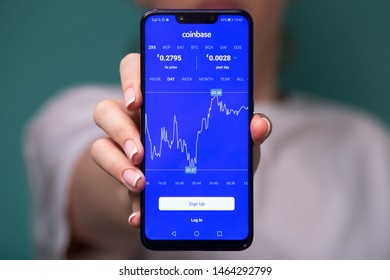 Tula, Russia 17. 06 2019 Coinbase on the phone display.
