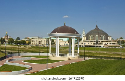 TULA, RUSSIA - AUGUST 22, 2010: Museum of Weapons and decorative summer pavilion on quay on August 22, 2013 in town Tula, Russia, has been built in 2010.