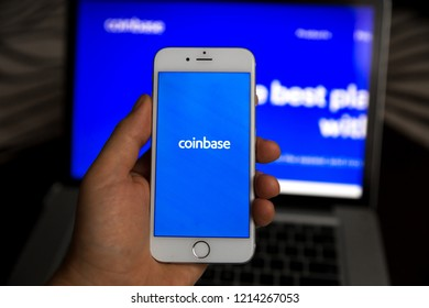 Tula, Russia - August 28, 2018: Coinbase - Buy Bitcoin and More, Secure Wallet mobile app on the display of smartphone.