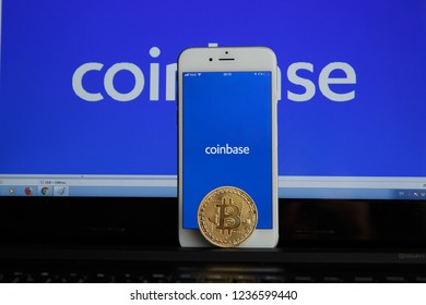 Tula, Russia - August 28, 2018: Coinbase - Buy Bitcoin and More, Secure Wallet mobile app on the display of
