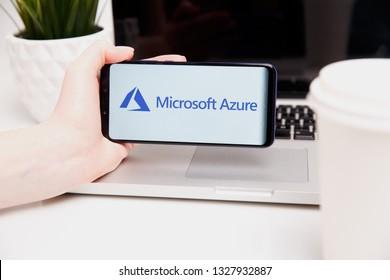 Tula, Russia - February 18, 2019: Microsoft Azure logo displayed on a modern