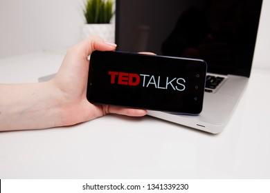 Tula, Russia - February 18, 2019: TED Talks logo displayed o