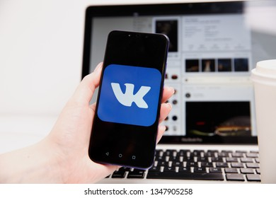 Tula, Russia - February 18, 2019: VK logo on smartphone screen. Vkontakte is a Russian social media and networking website.