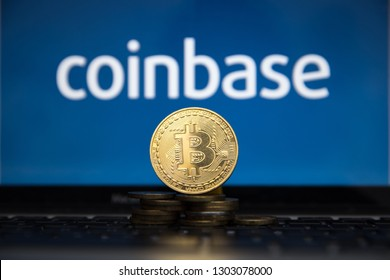 Tula, Russia - JANUARY 27, 2019: Coinbase - Buy Bitcoin and More, Secure Wallet mobile app on the display