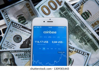 Tula, Russia - JANUARY 27, 2019: Coinbase - Buy Bitcoin and