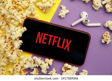 Tula, Russia - January 28, 2020: Netflix logo on iPhone display