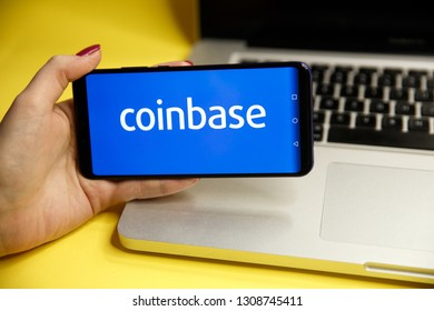 Tula, Russia - JANUARY 29, 2019: Coinbase - Buy Bitcoin and More, Secure Wallet mobile app on the display of smartphone.
