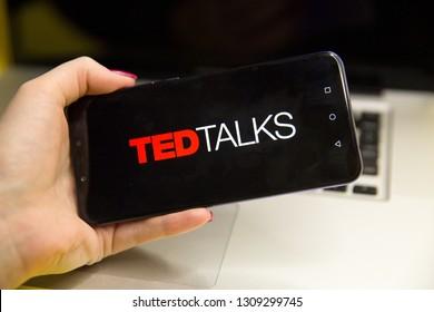 Tula, Russia - JANUARY 29, 2019: TED Talks logo displayed on