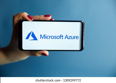 Tula, Russia - JANUARY 29, 2019: Microsoft Azure logo displayed on a modern