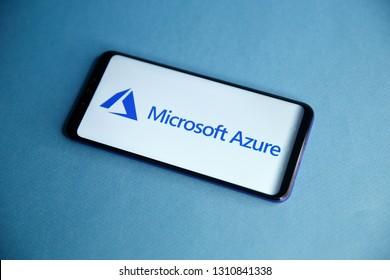 Tula, Russia - JANUARY 29, 2019: Microsoft Azure logo displayed on a modern