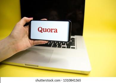 Tula, Russia - JANUARY 29, 2019: Quora logo displayed