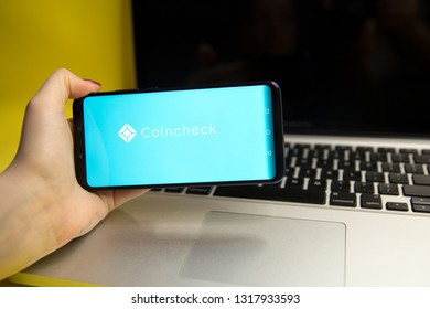 Tula, Russia - JANUARY 29, 2019: : Coincheck website displayed on a modern smartphone