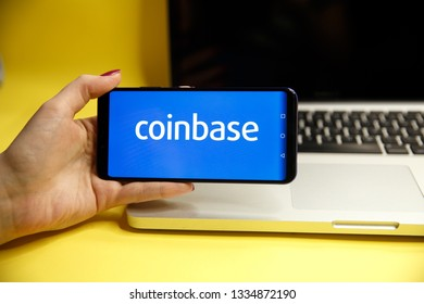 Tula, Russia - JANUARY 29, 2019: Coinbase - Buy Bitcoin and More, Secure Wallet mobile app on the display