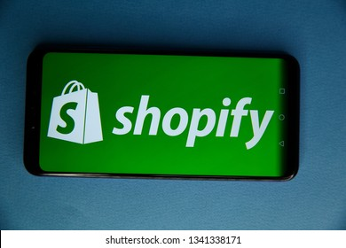 Tula, Russia - JANUARY 29, 2019: Shopify logo displayed on a modern smartphone