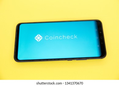 Tula, Russia - JANUARY 29, 2019: Coincheck website displayed on a modern smartphone