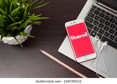 Tula, Russia, March 12, 2019: Apple iPhone with Pinterest application on the screen. Pinterest is an online pinboard that allows people to pin their interesting things. - Image