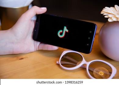 Tula, Russia - March 25, 2019: Tik tok on phone display.