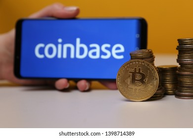 Tula, Russia - March 25, 2019: Coinbase on phone display.