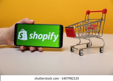 Tula, Russia - May 12 , 2019: Shopify on the phone display.