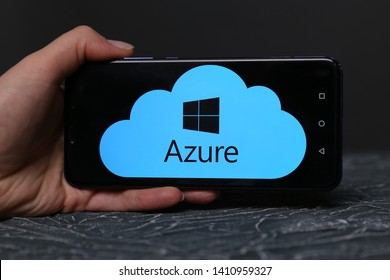 Tula, Russia - May 12 , 2019: Azure on phone display.