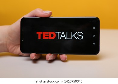 Tula, Russia - May 12 , 2019: Ted Talks on phone display.