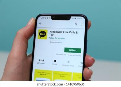 Tula, Russia - May 12 , 2019: Talk on phone display.