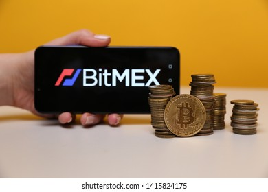 Tula, Russia - May 12 , 2019: BitMex on the phone display.