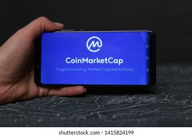 Tula, Russia - May 12 , 2019: CoinMarketCap on phone display.
