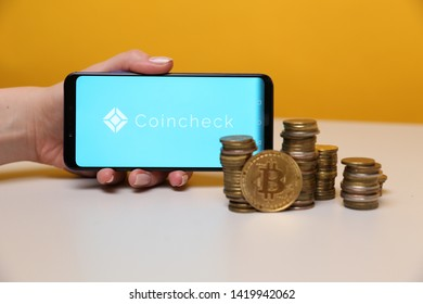 Tula, Russia - May 12 , 2019: Coincheck on the phone display.