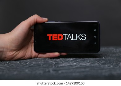 Tula, Russia - May 12 2019: Ted Talks on phone display