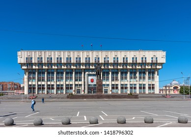TULA, RUSSIA - MAY 19, 2019: Panoramic view of Lenin Square, a monument to Lenin and the administration of Tula, Russia