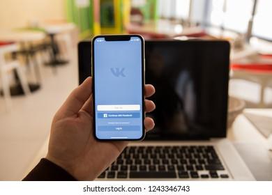 Tula, Russia - November 28, 2018 Vkontakte application icon on Apple iPhone X screen VK app icon. Vkontakte mobile application. Social media network. Social media icon