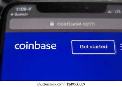 Tula, Russia - November 28, 2018: Coinbase mobile application running on smartphone. Coinbase is a cryptocurrency trading platform