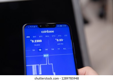 Tula, Russia - November 28, 2018: Coinbase - Buy Bitcoin and More, Secure Wallet mobile app on the display
