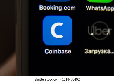 Tula, Russia - October 31, 2018: Coinbase - Buy Bitcoin and More, Secure Wallet mobile app on the display of smartphone.