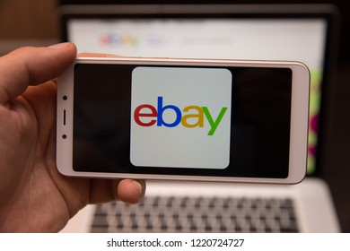 Tula, Russia - October 31, 2018:: Close up of ebay app on a Apple iPhone 6 screen. ebay is one of the largest online auction and shopping websites.