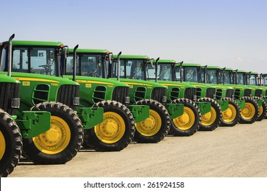 Tulare, CA, USA - February 11, 2011: John Deere tractors lined up at a California agricultural auction.