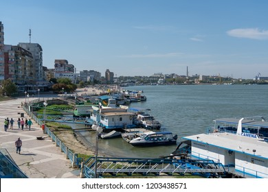 TULCEA, DANUBE DELTA/ROMANIA - SEPTEMBER 22 : View of the harbour area of Tulcea Danube Delta Romania on September 22, 2018. Unidentified people