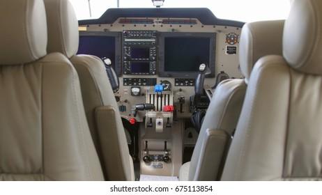 TULCEA, ROMANIA - APRIL 27: Interior of a twin engine plane during a test flight over the international airport Danube Delta on April 27, 2015 in Tulcea, Romania