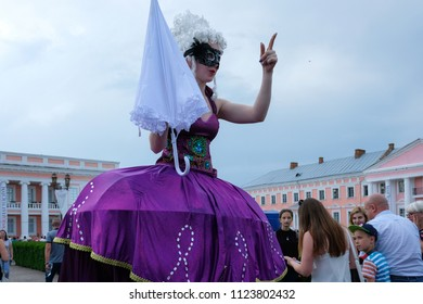 Tulchin, Ukraine. 9 June, 2018. A woman in a fancy dress. Palace of Count Potocki during the Operafest-Tulchyn 2018 Open Air Opera Festival.