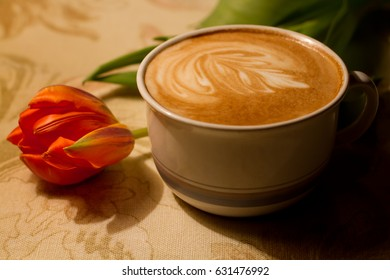 Tulip and cappuccino still life beautiful picture