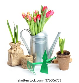 Tulip Garden Flowers Tools Isolated white background