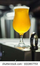Tulip glass full of light beer standing on steel equipment in an operating brewery