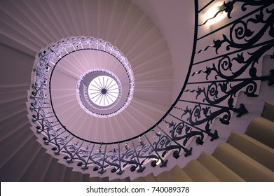 Tulip Stairs, Greenwich, U.K., 2016. The iconic Tulip Stairs in Queen's House, Greenwich, were built in the 17th century and were the first geometric self-supporting spiral stairs in Britain.